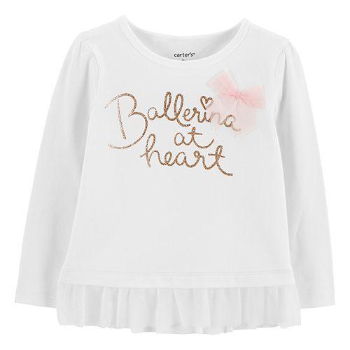 Baby Girl Carter's Ruffle-Hem Glittery Graphic Top