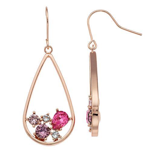 Brilliance Inset Teardrop Hoop Earrings with Swarovski Crystals