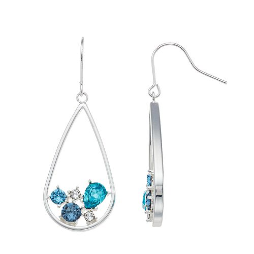 Brilliance Inset Teardrop Hoop Earrings with Swarovski Crystals
