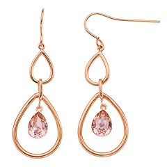 Brilliance Double Teardrop Hoop Earrings with Swarovski Crystals