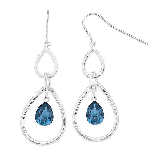 Brilliance Double Teardrop Hoop Earrings with Swarovski Crystals
