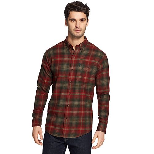 Bass /& Co G.h Fireside Plaid Flannel Shirt Red Mens Large New