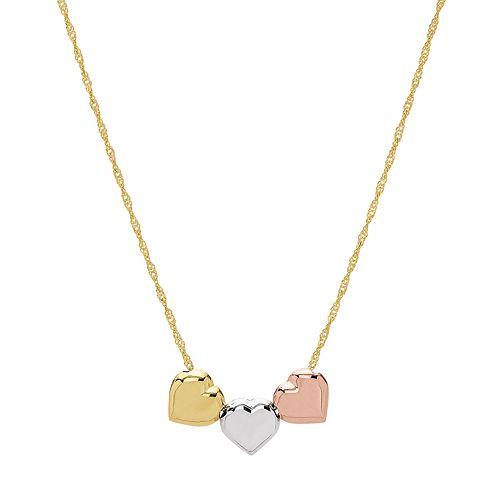 Tri Tone 14k Gold Triple Heart Necklace