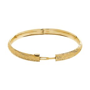 10k Gold Textured Bangle Bracelet