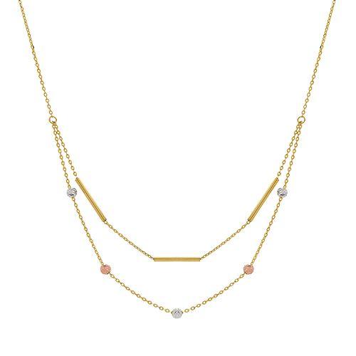 Tri Tone 10k Gold Bead & Bar Layered Necklace