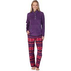 Women's Cuddl Duds Winter Kangaroo Henley Top & Pants Pajama Set