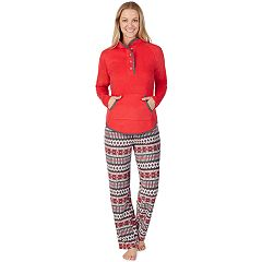 Women's Cuddl Duds Winter Kangaroo Henley Top & Pants Pajama Set