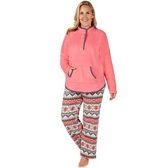 Plus Size Cuddl Duds Winter Kangaroo Henley Top & Pants Pajama Set