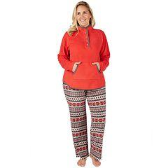 Plus Size Cuddl Duds Winter Kangaroo Henley Top & Pants Pajama Set