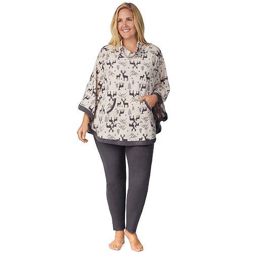 Plus Size Cuddl Duds Poncho & Leggings Pajama Set