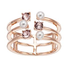 Brilliance Triple Band Ring with Swarovski Crystal Pearls