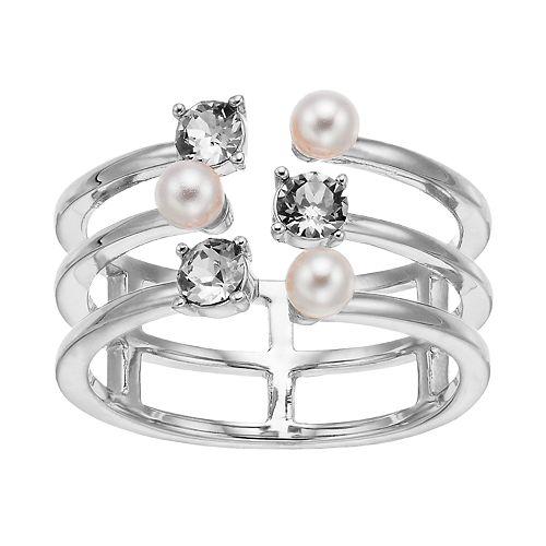 Brilliance Triple Band Ring with Swarovski Crystal Pearls