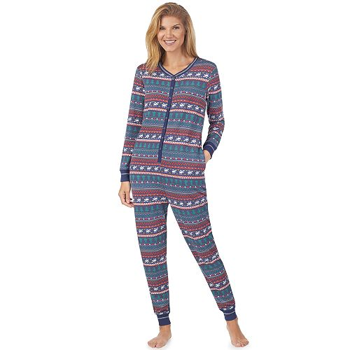 Women's Cuddl Duds Printed One-Piece Pajamas