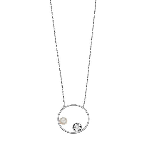 Brilliance Circle Pendant Necklace with Swarovski Crystal Pearls