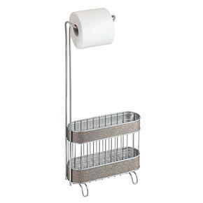 Interdesign Twillo Free-Standing Bathroom Toilet Paper Roll Dispenser & Magazine Basket