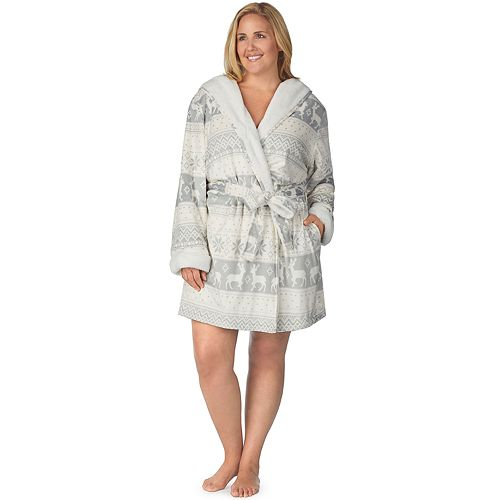Plus Size Cuddl Duds Hooded Fleece Robe