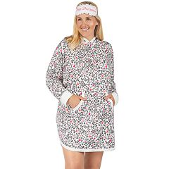 Plus Size Cuddl Duds Hooded Sleepshirt & Eye Mask