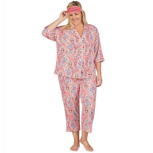 Plus Size Cuddl Duds 3-piece Printed Pajama Set