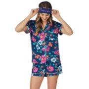 Women's Cuddl Duds 3-piece Printed Shirt & Shorts Pajama Set