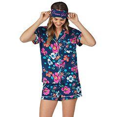 Women's Cuddl Duds 3-piece Printed Shirt & Shorts Pajama Set