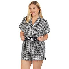8fd6cf8c77 Plus Size Cuddl Duds 3-piece Printed Shirt   Shorts Pajama Set