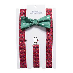 Men's Christmas Bow Tie & Suspenders Set