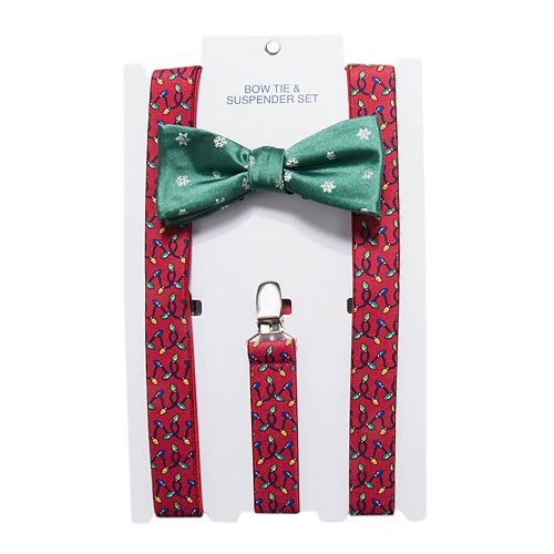 mens christmas bow tie suspenders set