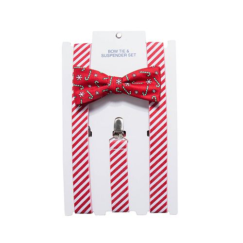 Men's Christmas Bow Tie & Suspenders Set