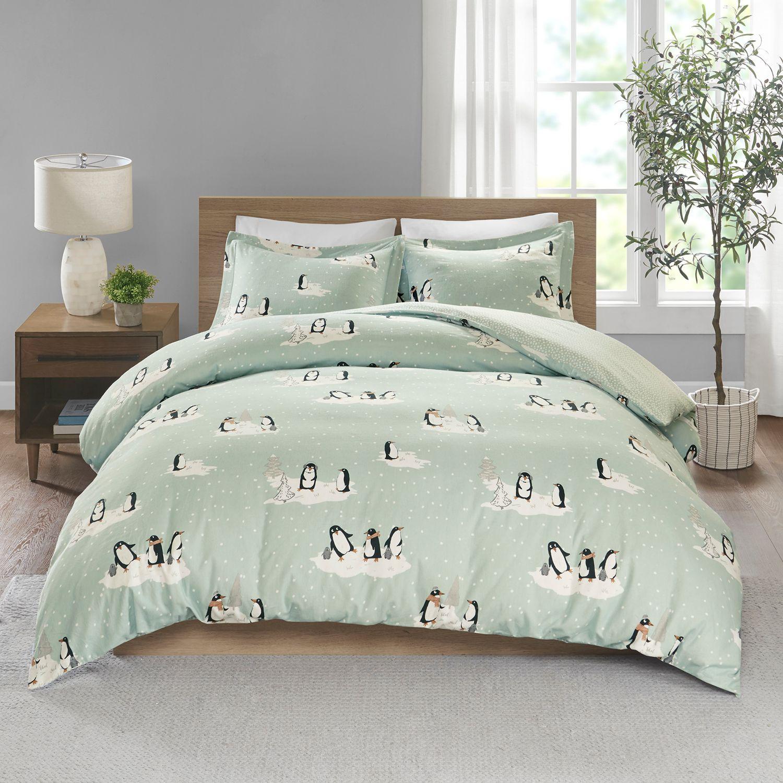 True North By Sleep Philosophy Cozy Flannel Penguin 3 Piece Duvet Cover Set