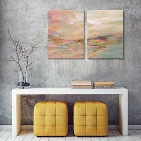 Artissimo Pink Waves Diptych Canvas Wall Art 2-piece Set
