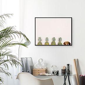 Artissimo Pineapple Pineapple Vizsla Framed Canvas Wall Art