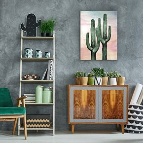 Artissimo Fresh Cactus Duo Canvas Wall Art