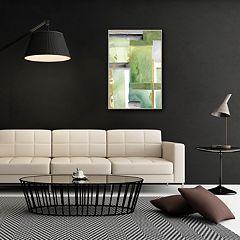 Artissimo Green Abstract Framed Canvas Wall Art