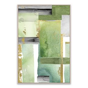 Artissimo Green Abstract Framed Canvas Wall Art