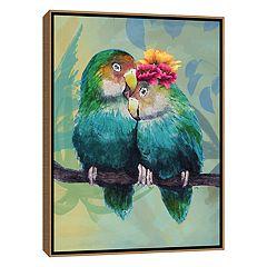 Artissimo Tropical Birds In Love I Framed Canvas Wall Art