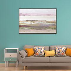 Artissimo Pink Landscape Framed Canvas Wall Art