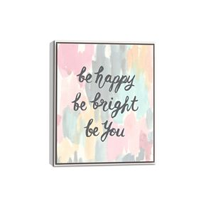 "Artissimo ""Be Happy"" Framed Canvas Wall Art"