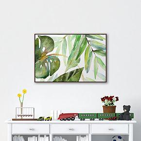 Artissimo Island Leaves I Framed Canvas Wall Art