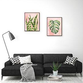 Artissimo Botanical Snake Plant Framed Canvas Wall Art 2-piece Set