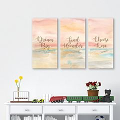Artissimo 'Dream Big' Canvas Wall Art 3-piece Set