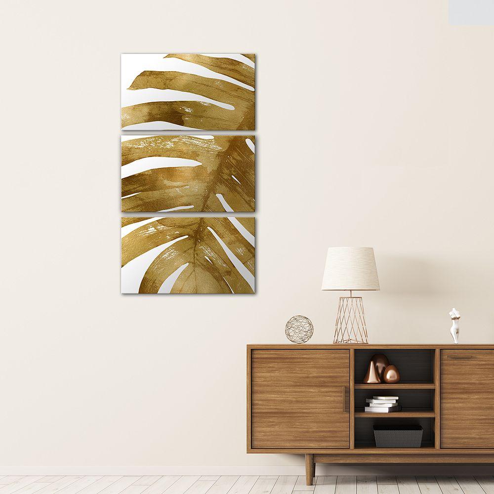 Artissimo Tropical Gold Palm II Canvas Wall Art 3-piece Set