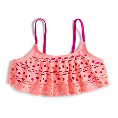 Girls 7-16 SO® Coral Laser Cut Flounce Bikini Swimsuit Top