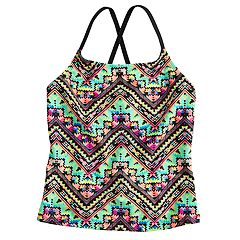 Girls 7-16 SO® Tribal X-Back Tankini Swimsuit Top