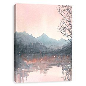 Artissimo Autumn Malibu Lake Canvas Wall Art
