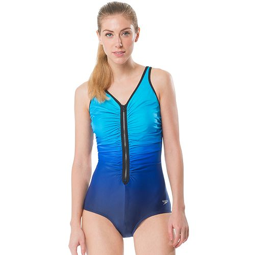 Women's Speedo Zip-Front Ombre One-Piece Swimsuit