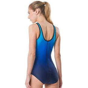 Women's Speedo Zip-Front Ombre One-Piece Swimsuit