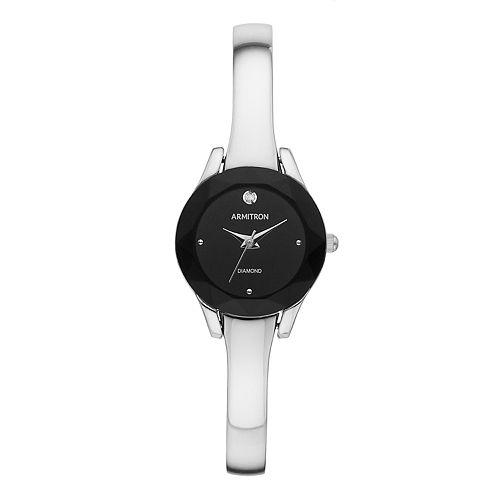 Armitron Women's Diamond Accent Half Bangle Watch - 75-5327BKSVKO