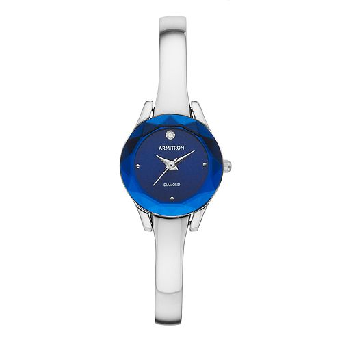 Armitron Women's Diamond Accent Half-Bangle Watch - 75-5327BLSVK