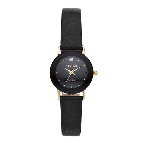 Armitron Women's Diamond Accent Leather Watch - 75-2447BLKKOH