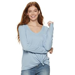 Juniors' SO® Pocket Long Sleeve Tee